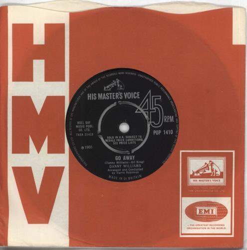 "Danny Williams Go Away 7"" vinyl single (7 inch record) UK DW-07GO708090"