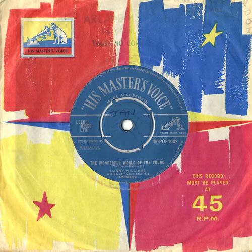 "Danny Williams The Wonderful World Of The Young 7"" vinyl single (7 inch record) UK DW-07TH560574"