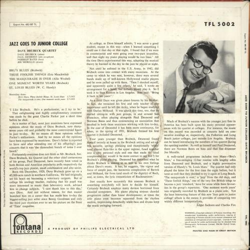 Dave Brubeck Jazz Goes To Junior College - VG+ vinyl LP album (LP record) UK DBRLPJA745606