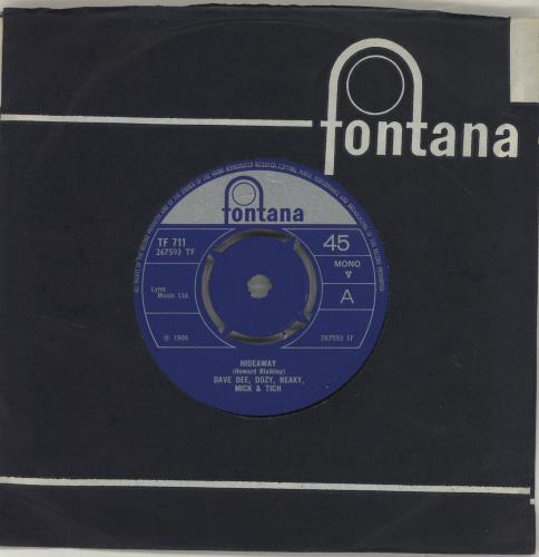 "Dave Dee, Dozy, Beaky, Mick & Tich Hideaway - 4 Prong 7"" vinyl single (7 inch record) UK DDD07HI687601"