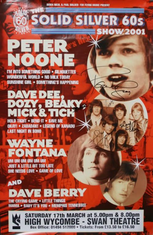 Dave Dee, Dozy, Beaky, Mick & Tich The Solid Silver 60s Show - Fully Autographed poster UK DDDPOTH579550