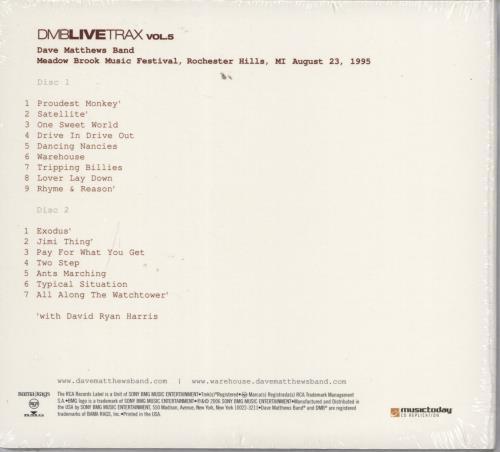 Dave Matthews Band DMB Live Trax Volume 5 - Sealed 2 CD album set (Double CD) US DMB2CDM767487
