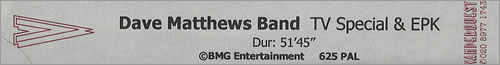 Dave Matthews Band TV Special & EPK video (VHS or PAL or NTSC) UK DMBVITV203921