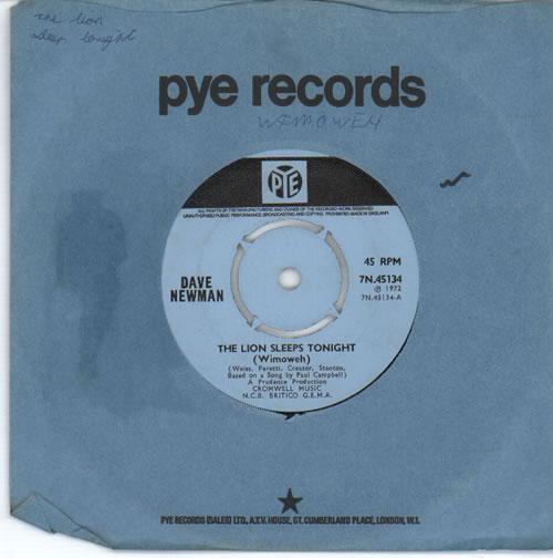"Dave Newman The Lion Sleeps Tonight (Wimoweh) 7"" vinyl single (7 inch record) UK G-107TH633865"