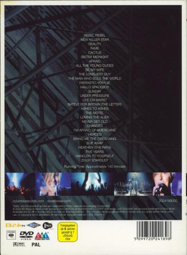 David Bowie A Reality Tour DVD German BOWDDAR771559