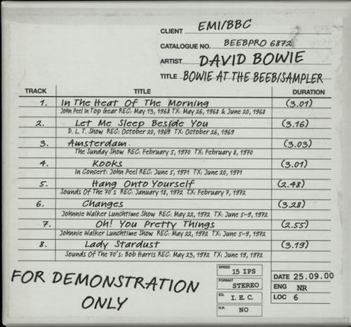 David Bowie Bowie At The Beeb - Sampler / Box CD album (CDLP) UK BOWCDBO166897