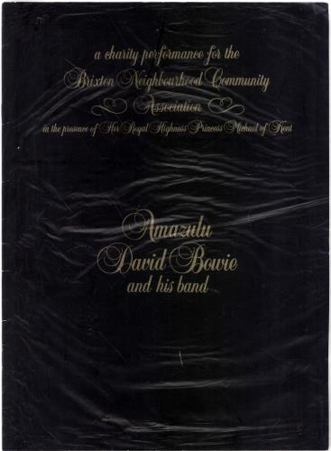 David Bowie Charity Tour Programme tour programme UK BOWTRCH127940