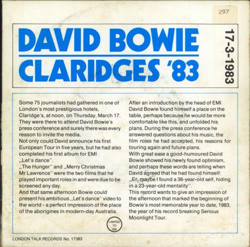 "David Bowie Claridges '83 7"" vinyl single (7 inch record) UK BOW07CL767229"