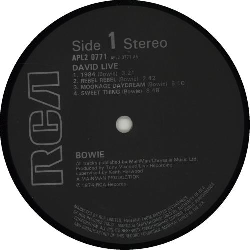 David Bowie David Live - Black Label 2-LP vinyl record set (Double Album) UK BOW2LDA318154