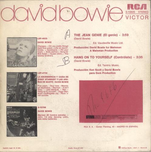 """David Bowie El Genio (The Jean Genie) - toc 7"""" vinyl single (7 inch record) Spanish BOW07EL767230"""