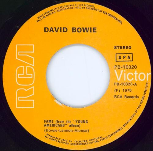 """David Bowie Fame - Post 1977 'SPA' issue 7"""" vinyl single (7 inch record) Portugese BOW07FA529587"""