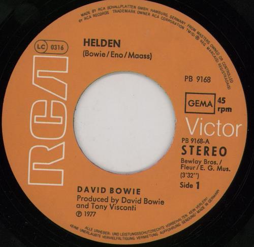 """David Bowie Helden - EX 7"""" vinyl single (7 inch record) German BOW07HE552479"""