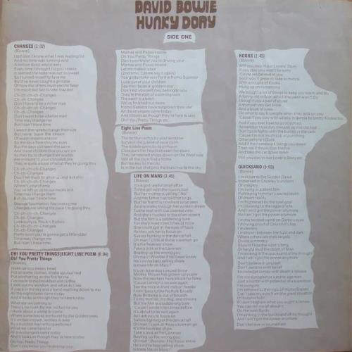 David Bowie Hunky Dory - 1st + Insert - EX vinyl LP album (LP record) UK BOWLPHU583229