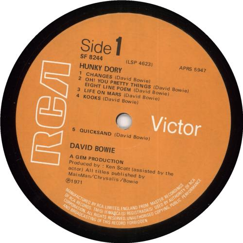 David Bowie Hunky Dory - 2nd - VG vinyl LP album (LP record) UK BOWLPHU693335