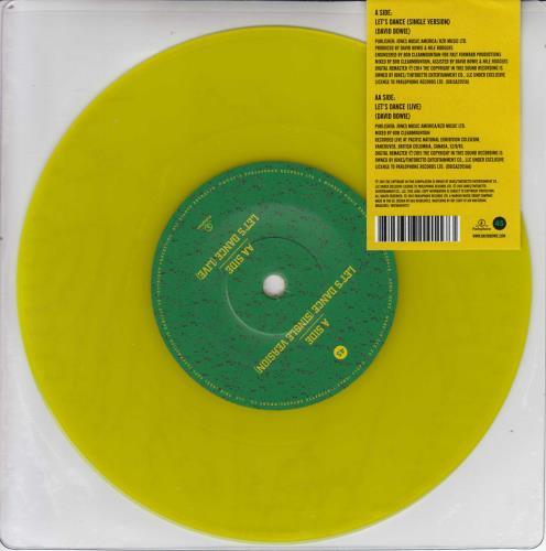 "David Bowie Let's Dance - Yellow Vinyl 7"" vinyl single (7 inch record) UK BOW07LE689414"