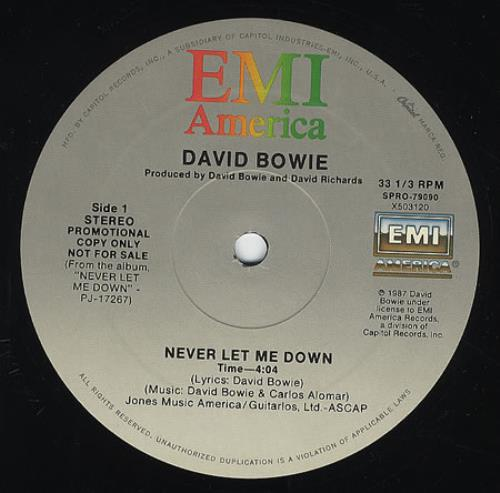 "David Bowie Never Let Me Down 12"" vinyl single (12 inch record / Maxi-single) US BOW12NE26423"