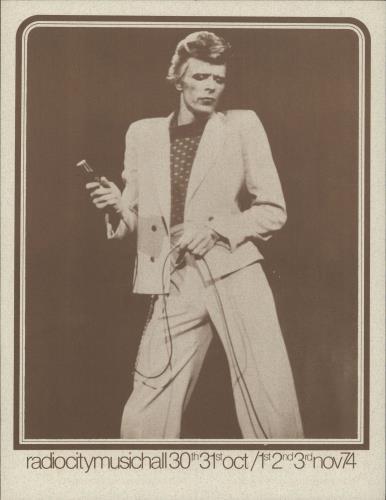 David Bowie Radio City Music Hall Handbill handbill US BOWHBRA724701