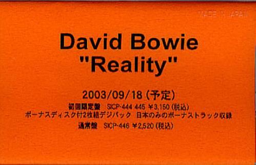 David Bowie Reality cassette album Japanese BOWCLRE282137