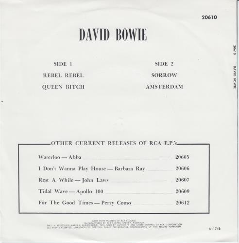 "David Bowie Rebel Rebel EP - Side Wraparound 7"" vinyl single (7 inch record) Australian BOW07RE650475"