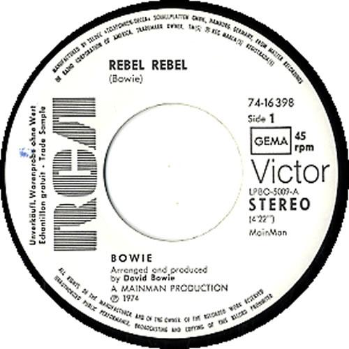 "David Bowie Rebel Rebel 7"" vinyl single (7 inch record) German BOW07RE354815"