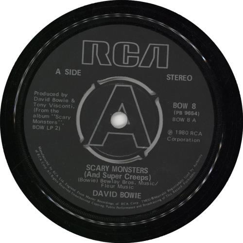 """David Bowie Scary Monsters (And Super Creeps) - 4pr A label - EX 7"""" vinyl single (7 inch record) UK BOW07SC28451"""