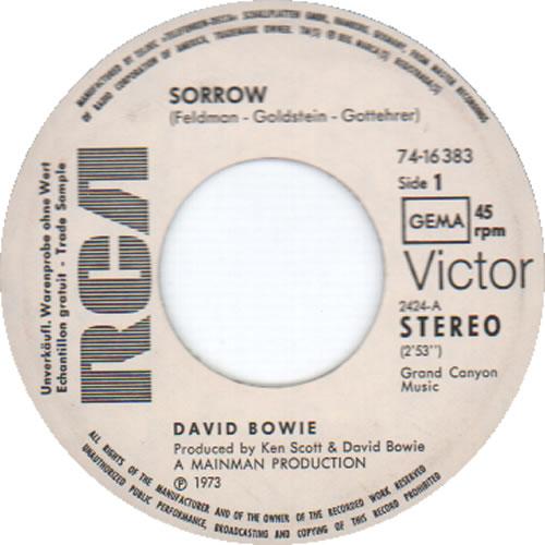 "David Bowie Sorrow 7"" vinyl single (7 inch record) German BOW07SO354816"