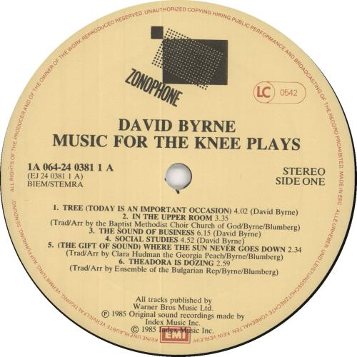 David Byrne Music For The Knee Plays - Sample vinyl LP album (LP record) Dutch BYNLPMU734846