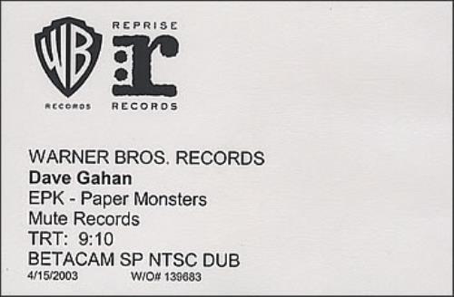 David Gahan EPK - Paper Monsters - Betacam video (VHS or PAL or NTSC) US DGNVIEP379944