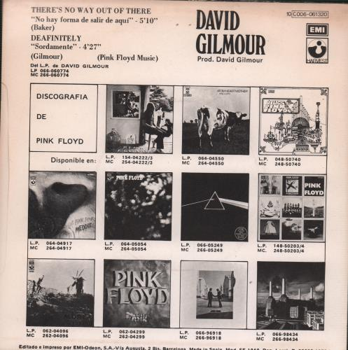 "David Gilmour No Hay Forma De Salir De Aqui - Sample 7"" vinyl single (7 inch record) Spanish DGL07TH93692"