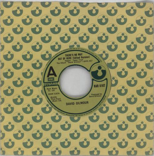 """David Gilmour There's No Way Out Of Here (Edited Version) - VG 7"""" vinyl single (7 inch record) UK DGL07TH764562"""