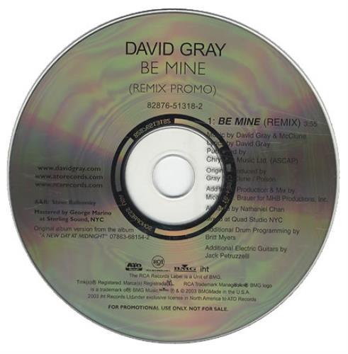 """David Gray Be Mine - Remix Promo CD single (CD5 / 5"""") US DGRC5BE259018"""