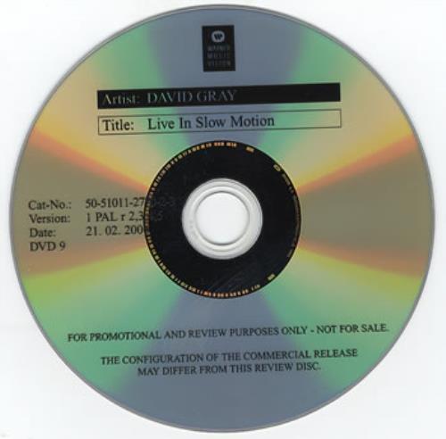 David Gray Live In Slow Motion DVD UK DGRDDLI357773