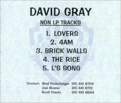 David Gray Non LP Tracks CD-R acetate US DGRCRNO407237