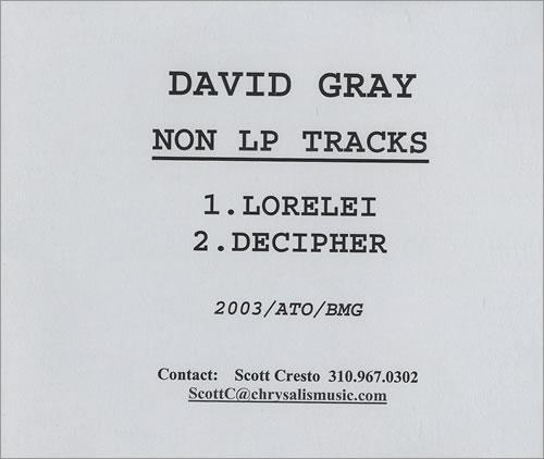 David Gray Non LP Tracks CD-R acetate US DGRCRNO466725