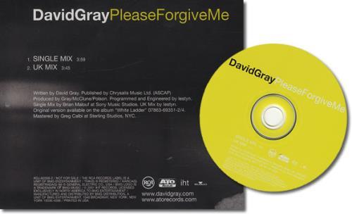 """David Gray Please Forgive Me CD single (CD5 / 5"""") US DGRC5PL185617"""