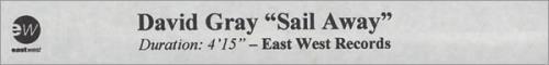 David Gray Sail Away video (VHS or PAL or NTSC) UK DGRVISA192921