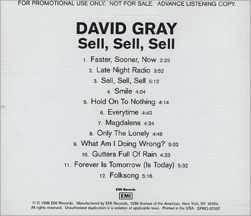 David Gray Sell, Sell, Sell CD album (CDLP) US DGRCDSE215983