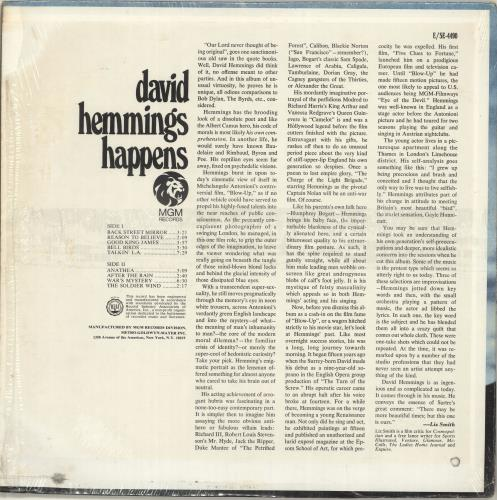 David Hemmings Happens - shrink vinyl LP album (LP record) US D43LPHA697209