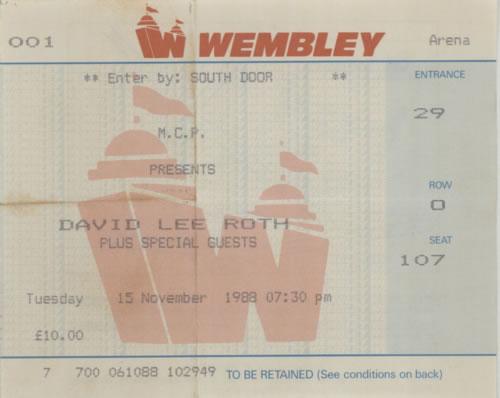 David Lee Roth Skyscaper Tour + Ticket Stub tour programme UK DLRTRSK596765