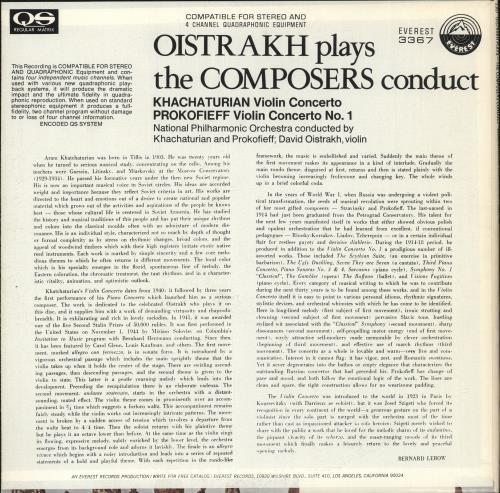 David Oïstrakh Oistrakh Plays - The Composers Conduct vinyl LP album (LP record) US DWVLPOI726957
