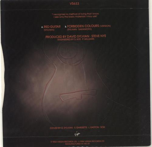 "David Sylvian Red Guitar 7"" vinyl single (7 inch record) UK SYL07RE294086"
