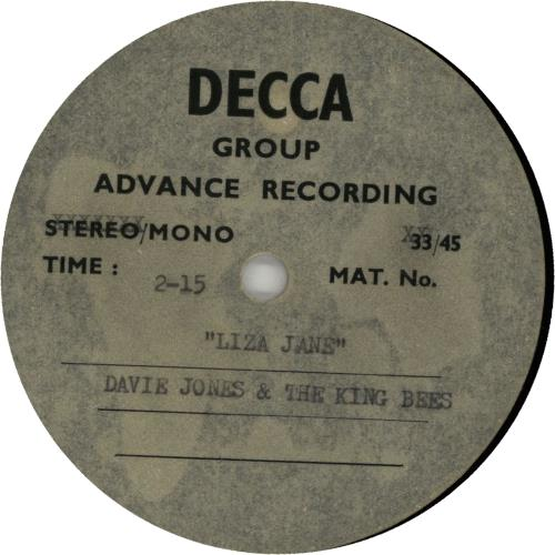 Davie Jones & The Kingbees Liza Jane - Acetate acetate UK DJKATLI651454