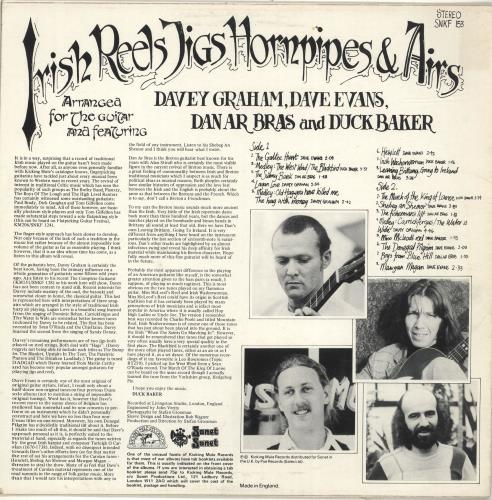 Davy Graham Irish Reels, Jigs, Hornpipes And Airs vinyl LP album (LP record) UK DVGLPIR694855