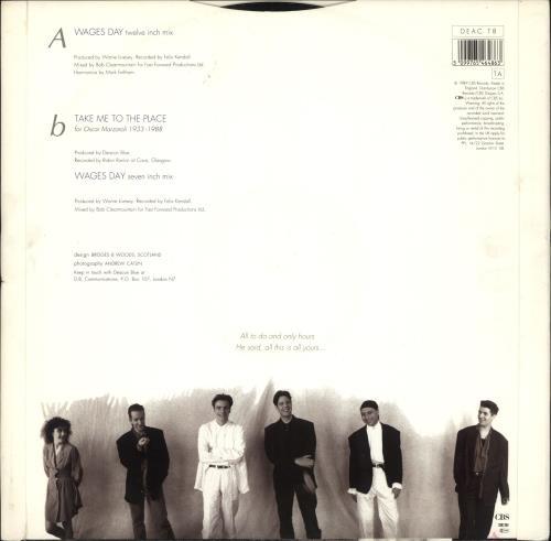 "Deacon Blue Wages Day 12"" vinyl single (12 inch record / Maxi-single) UK DBL12WA37392"
