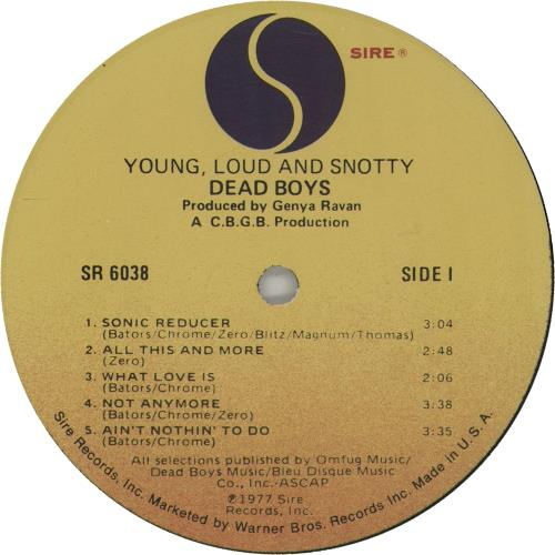 Dead Boys Young Loud And Snotty - Promo Stickered P/S vinyl LP album (LP record) US Y-SLPYO659469