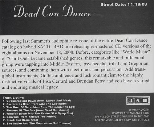 Dead Can Dance 2008 Sampler CD album (CDLP) US DCDCDSA458352