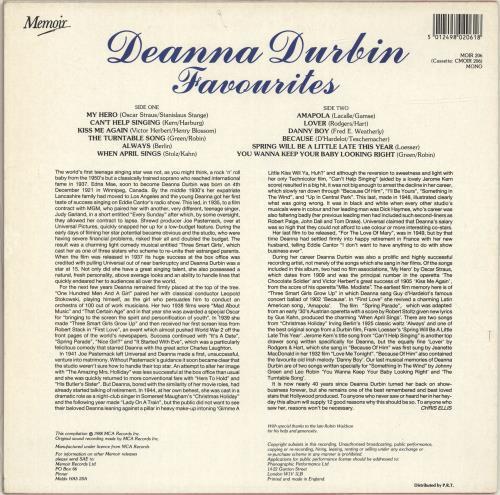 Deanna Durbin Favourites UK vinyl LP album (LP record) (694161)