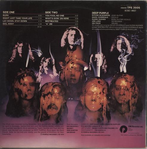 Deep Purple Burn - 2nd vinyl LP album (LP record) UK DEELPBU711152