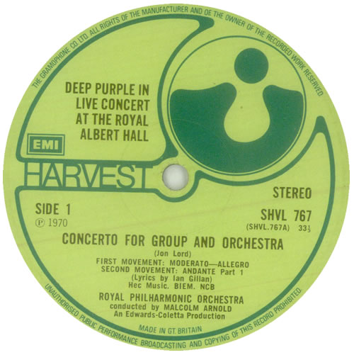 Deep Purple Concerto For Group And Orchestra - 2nd vinyl LP album (LP record) UK DEELPCO495169