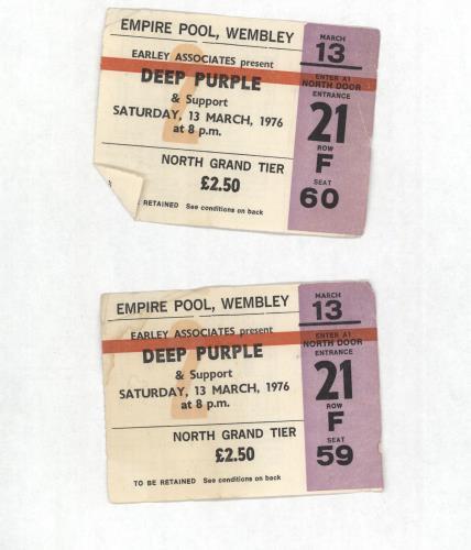 Deep Purple Empire Pool, Wembley 1976 Ticket Stubs concert ticket UK DEETIEM699883